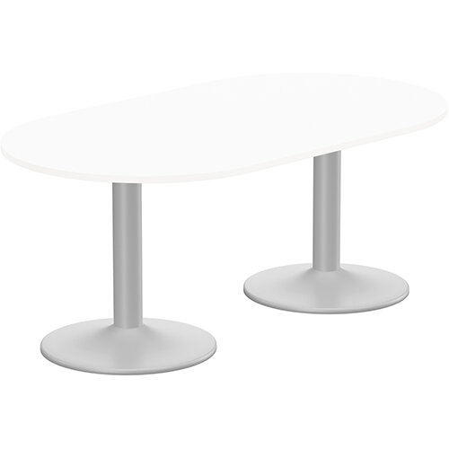 Kito W1800mmxD1000mm White D-End Boardroom Table With Silver Double Cylinder Trumpet Base - 6-8 Person Seating Capacity