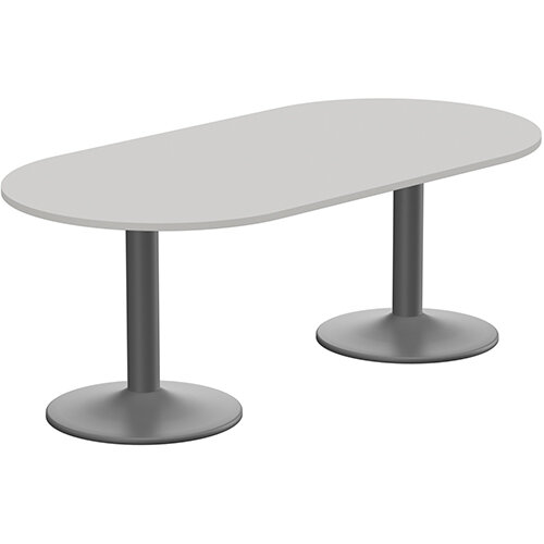 Kito W2000mmxD1000mm Grey D-End Boardroom Table With Anthracite Double Cylinder Trumpet Base - 6-8 Person Seating Capacity