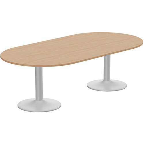 Kito W2400mmxD1200mm Beech D-End Boardroom Table With Silver Double Cylinder Trumpet Base - 8-10 Person Seating Capacity