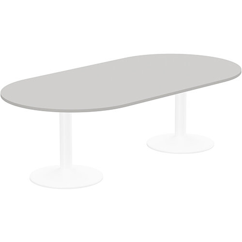 Kito W2400mmxD1200mm Grey D-End Boardroom Table With White Double Cylinder Trumpet Base - 8-10 Person Seating Capacity