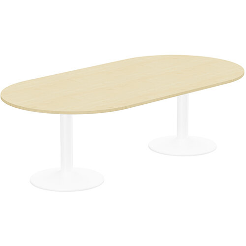 Kito W2400mmxD1200mm Maple D-End Boardroom Table With White Double Cylinder Trumpet Base - 8-10 Person Seating Capacity