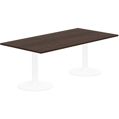 Kito W2000mmxD1000mm Dark Walnut  Rectangular Boardroom Table With White Double Cylinder Trumpet Base - 6-8 Person Seating Capacity