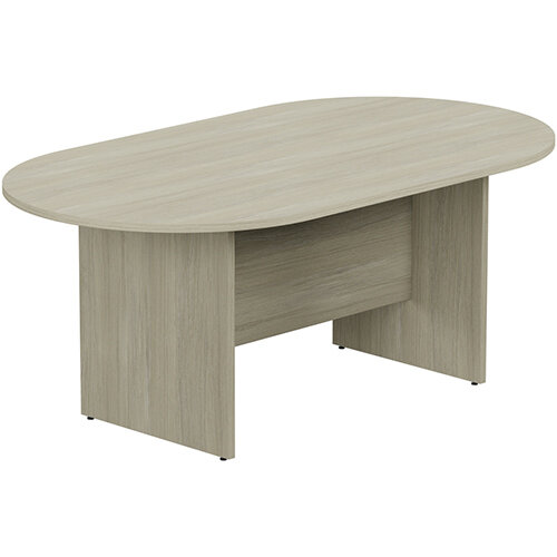 Kito W1800mmxD1000mm Arctic Oak D-End Boardroom Table with Panel Leg Base - 6-8 Person Seating Capacity