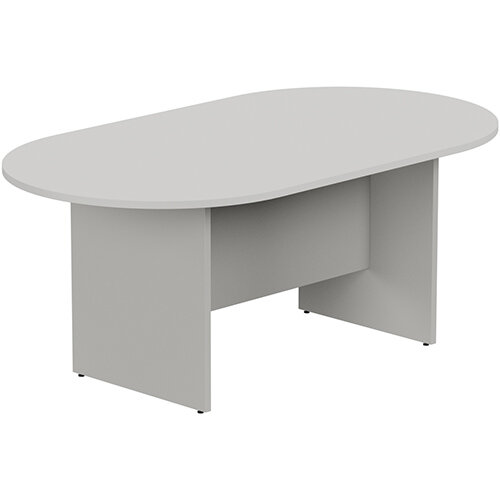 Kito W1800mmxD1000mm Grey D-End Boardroom Table with Panel Leg Base - 6-8 Person Seating Capacity