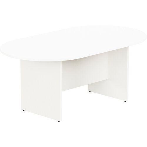 Kito W1800mmxD1000mm White D-End Boardroom Table with Panel Leg Base - 6-8 Person Seating Capacity