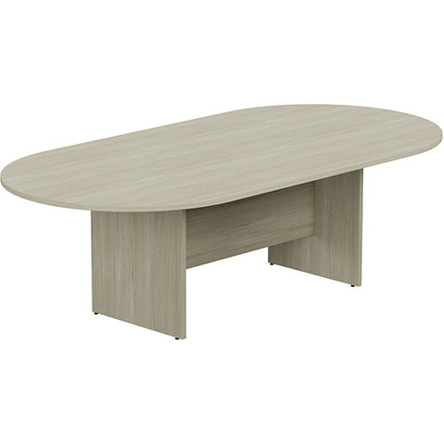 Kito W2400mmxD1200mm Arctic Oak D-End Boardroom Table with Panel Leg Base - 8-10 Person Seating Capacity