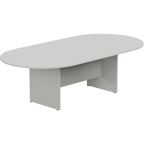 Kito W2400mmxD1200mm Grey D-End Boardroom Table with Panel Leg Base - 8-10 Person Seating Capacity