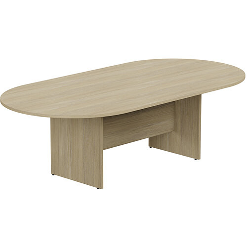 Kito W2400mmxD1200mm Urban Oak D-End Boardroom Table with Panel Leg Base - 8-10 Person Seating Capacity