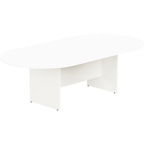 Kito W2400mmxD1200mm White D-End Boardroom Table with Panel Leg Base - 8-10 Person Seating Capacity