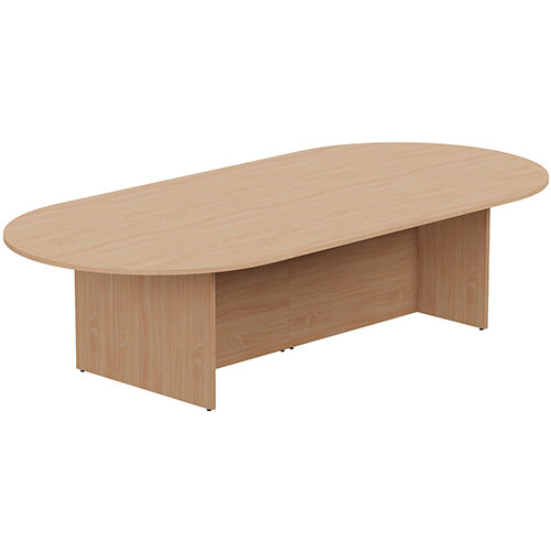 Kito W3000mmxD1400mm Beech D-End Boardroom Table with Panel Leg Base - 10-12 Person Seating Capacity