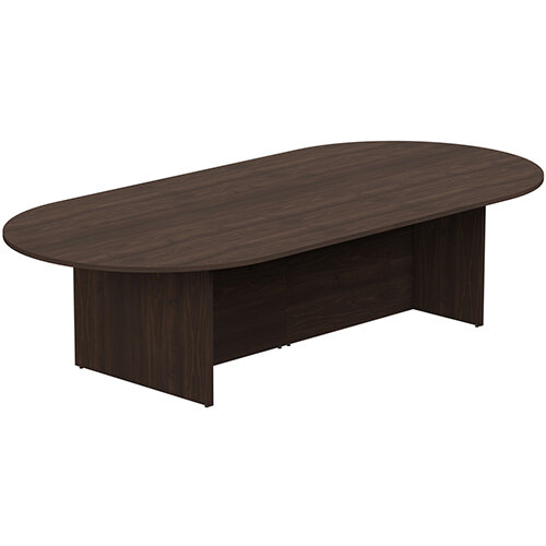 Kito W3000mmxD1400mm Dark Walnut  D-End Boardroom Table with Panel Leg Base - 10-12 Person Seating Capacity