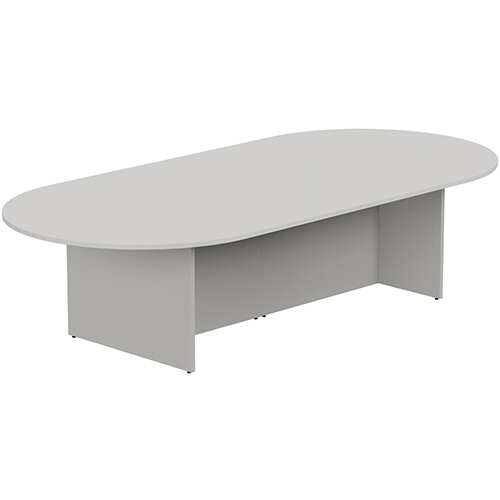 Kito W3000mmxD1400mm Grey D-End Boardroom Table with Panel Leg Base - 10-12 Person Seating Capacity