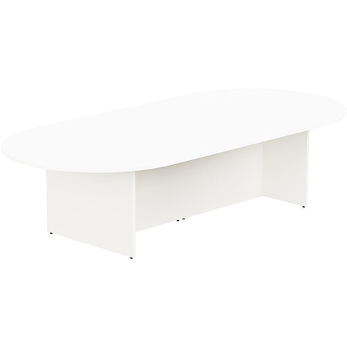 Kito W3000mmxD1400mm White D-End Boardroom Table with Panel Leg Base - 10-12 Person Seating Capacity
