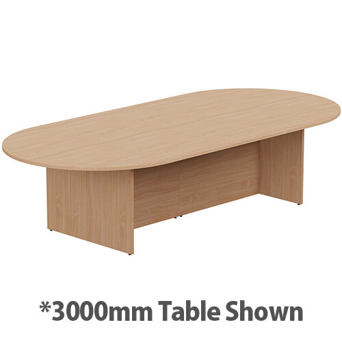 Kito W6000mmxD1400mm Beech D-End Boardroom Table With Panel Leg Base - 16-18 Person Seating Capacity