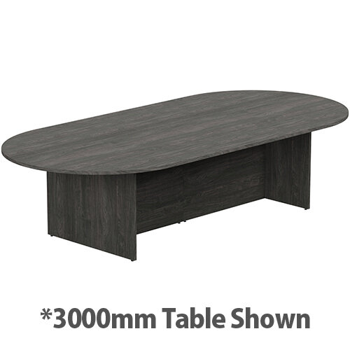 Kito W6000mmxD1400mm Carbon Walnut D-End Boardroom Table With Panel Leg Base - 16-18 Person Seating Capacity
