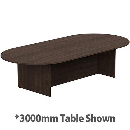 Kito W6000mmxD1400mm Dark Walnut D-End Boardroom Table With Panel Leg Base - 16-18 Person Seating Capacity