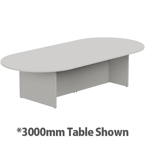 Kito W6000mmxD1400mm Grey D-End Boardroom Table With Panel Leg Base - 16-18 Person Seating Capacity