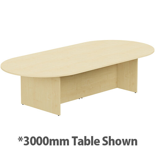 Kito W6000mmxD1400mm Maple D-End Boardroom Table With Panel Leg Base - 16-18 Person Seating Capacity