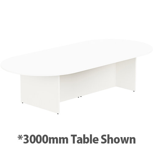 Kito W6000mmxD1400mm White D-End Boardroom Table With Panel Leg Base - 16-18 Person Seating Capacity