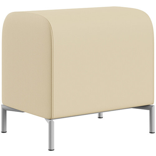 SIGMA MODULAR Soft Seating Pouffe With Standard Metal Legs - Genuine Leather Upholstery
