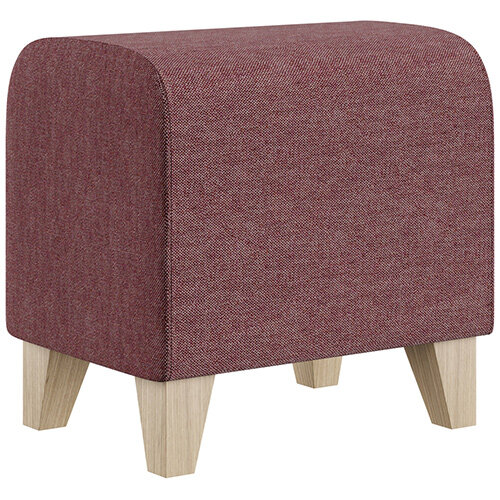 SIGMA MODULAR Soft Seating Pouffe With Trapezoid Wooden Legs - RIVET Fabric