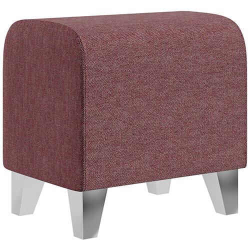 SIGMA MODULAR Soft Seating Pouffe With Trapezoid Chrome Effect Legs - RIVET Fabric