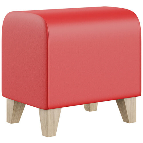 SIGMA MODULAR Soft Seating Pouffe With Trapezoid Wooden Legs - LOTUS Leather-Look Upholstery
