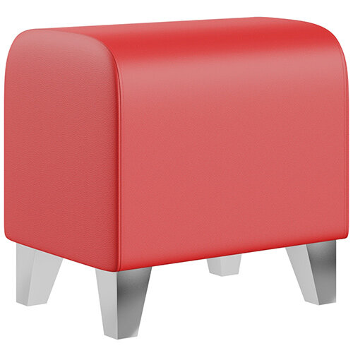 SIGMA MODULAR Soft Seating Pouffe With Trapezoid Chrome Effect Legs - LOTUS Leather-Look Upholstery