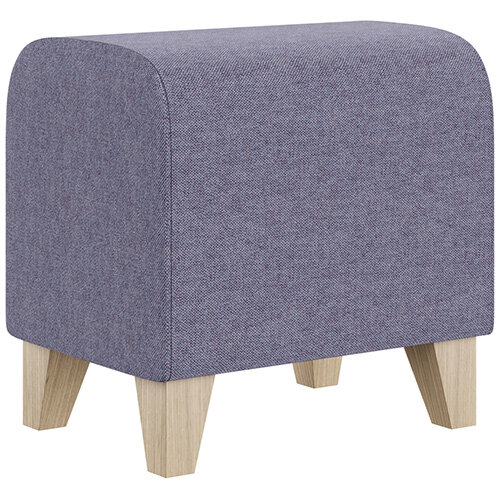 SIGMA MODULAR Soft Seating Pouffe With Trapezoid Wooden Legs - MAIN LINE FLAX Fabric