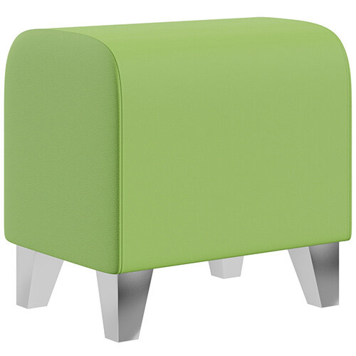 SIGMA MODULAR Soft Seating Pouffe With Trapezoid Chrome Effect Legs - VALENCIA Leather-Look Upholstery