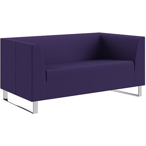 SIGMA 2 Seater Sofa With Cantilever Chrome Legs - Camira BLAZER 100% Wool Fabric