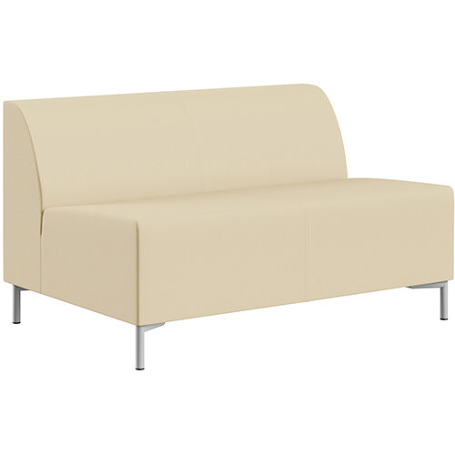 SIGMA MODULAR Soft Seating 2 Seater Unit With Standard Metal Legs - Genuine Leather Upholstery