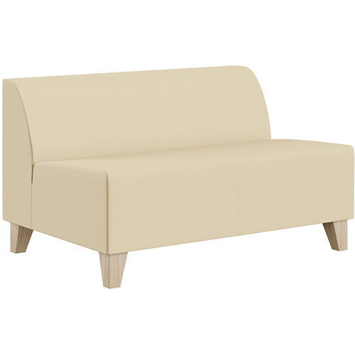 SIGMA MODULAR Soft Seating 2 Seater Unit With Trapezoid Wooden Legs - Genuine Leather Upholstery