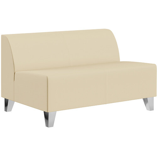 SIGMA MODULAR Soft Seating 2 Seater Unit With Trapezoid Chrome Effect Legs - Genuine Leather Upholstery
