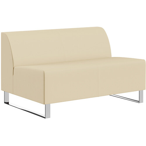 SIGMA MODULAR Soft Seating 2 Seater Unit With Cantilever Chrome Legs - Genuine Leather Upholstery