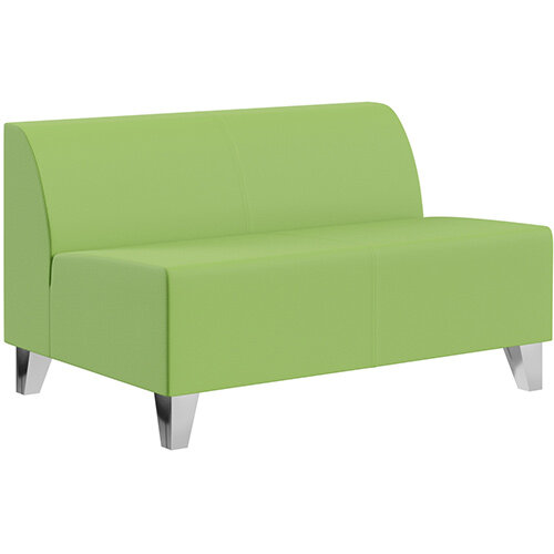 SIGMA MODULAR Soft Seating 2 Seater Unit With Trapezoid Chrome Effect Legs - VALENCIA Leather-Look Upholstery