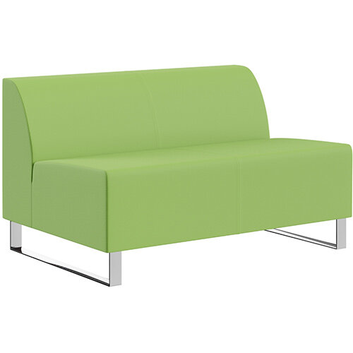 SIGMA MODULAR Soft Seating 2 Seater Unit With Cantilever Chrome Legs - VALENCIA Leather-Look Upholstery
