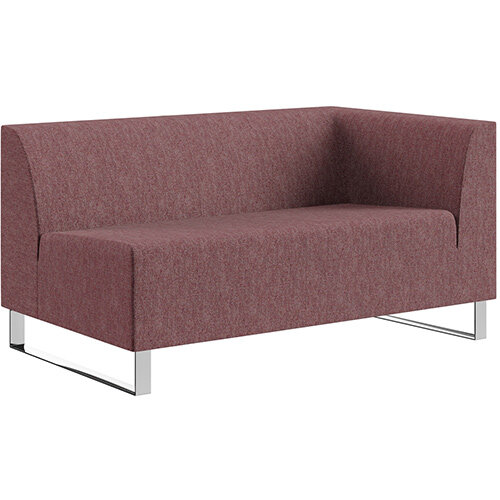 SIGMA MODULAR Soft Seating 2 Seater Left End Unit With Cantilever Chrome Legs - RIVET Fabric