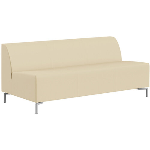 SIGMA MODULAR Soft Seating 3 Seater Unit With Standard Metal Legs - Genuine Leather Upholstery