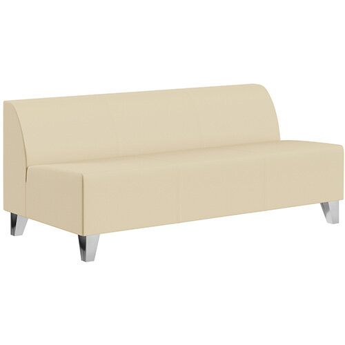 SIGMA MODULAR Soft Seating 3 Seater Unit With Trapezoid Chrome Effect Legs - Genuine Leather Upholstery
