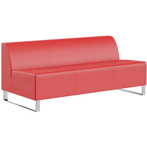 SIGMA MODULAR Soft Seating 3 Seater Unit With Cantilever Chrome Legs - LOTUS Leather-Look Upholstery