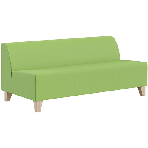 SIGMA MODULAR Soft Seating 3 Seater Unit With Trapezoid Wooden Legs - VALENCIA Leather-Look Upholstery