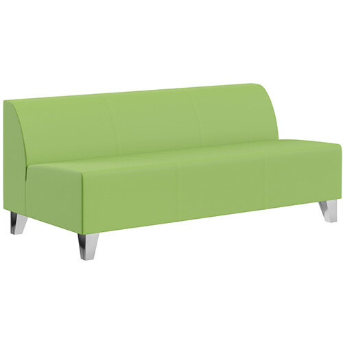 SIGMA MODULAR Soft Seating 3 Seater Unit With Trapezoid Chrome Effect Legs - VALENCIA Leather-Look Upholstery