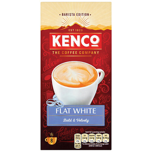 Kenco Flat White Instant Sachet Pack of 8 4041493