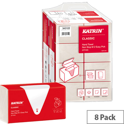 Katrin Classic Hand Towel Non Stop Z-Fold M2 White 135 Sheets Pack of 8 343122