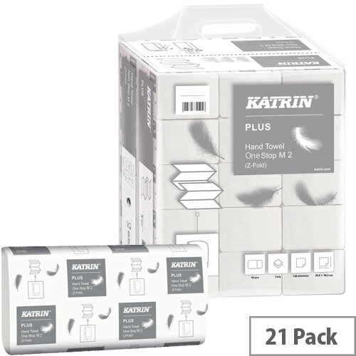 Katrin Plus Hand Towel One Stop M2 White 144 Sheets Pack of 21 345379