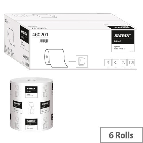 Katrin Basic System Towel M 1-Ply White Pack of 6 460201