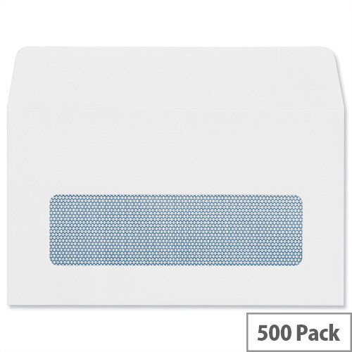Plus Fabric Wallet Envelopes 89x152mm Window 110gsm Self Seal White Pack of 500