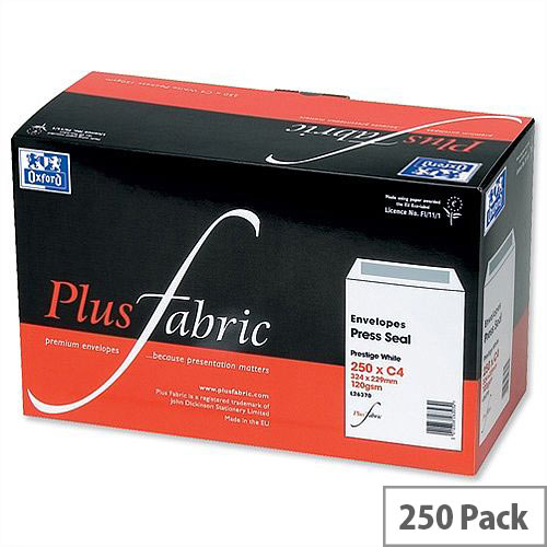 Plus Fabric White Envelopes C4 Press Seal Pocket 120gsm Pack 250