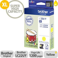 Brother LC22UY Yellow Super High Yield Inkjet Cartridge LC-22U
